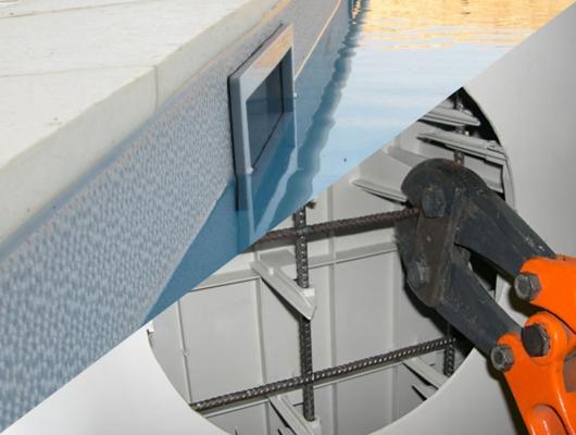 Pré-découpe des pièces à sceller pour piscine - Aquafeat